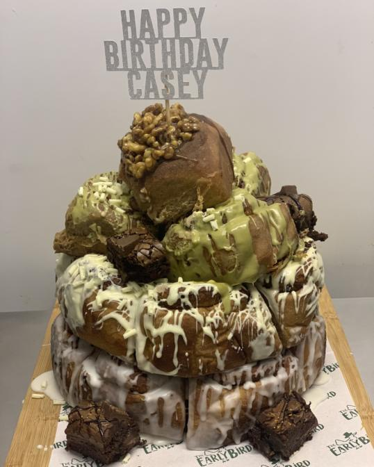 Cinnamon Bun Tower with Personalised Topper