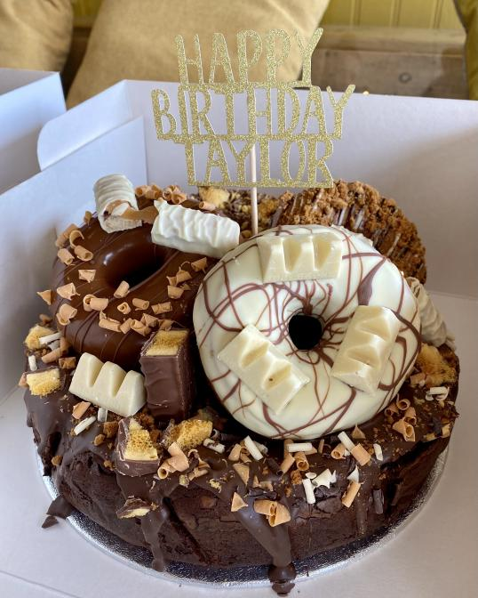 Brownie & Doughnut Cake with Personalised Topper